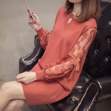 Fashion 2019 Spring Autumn Women Sweater Dresses Elegant O-neck Sexy Lace Hollow Out Bodycon Robe Knitted Dress Vestido