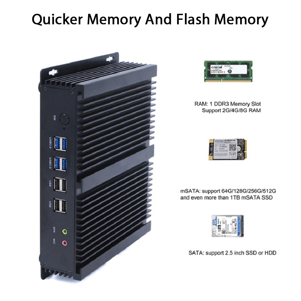 Fanless Industrial PC,Mini Computer,Windows 10,Intel Core I3 4010U,[HUNSN MA05I],(Dual WiFi/2HD/4USB2.0/4USB3.0/2LAN/6COM)
