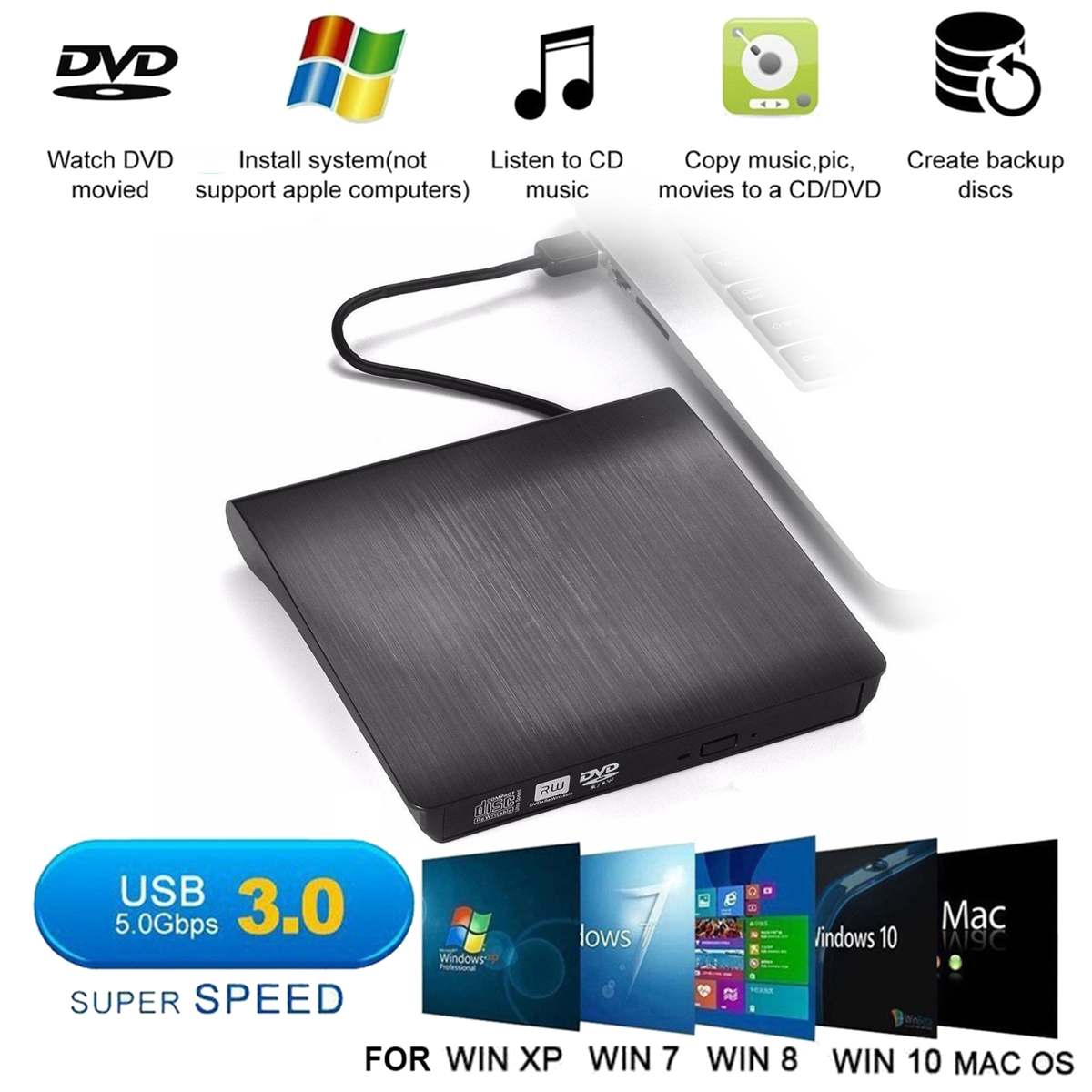 External DVD Drive USB 3.0 Mobile DVD-RW CD-RW Combo Drive Burner Reader Player Recorder Portatil For Laptop
