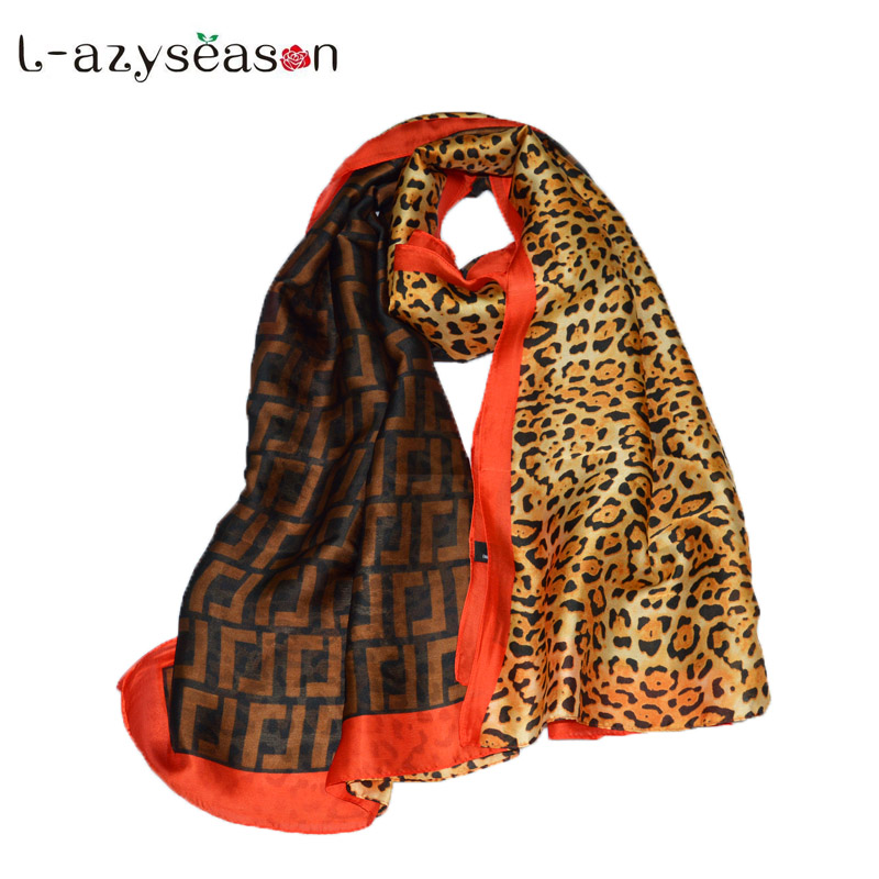 2019 Brand leopard print silk   Scarf   women Spring Summer Plus Size Female shawl long head   Scarves     Wraps   High quality pashmina