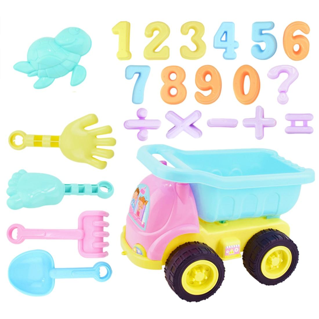 NFSTRIKE 22Pcs Children Outdoor Beach Sand Toy Dump Truck Playset Kids Beach Sand Toys Set - F Kit Medium Size