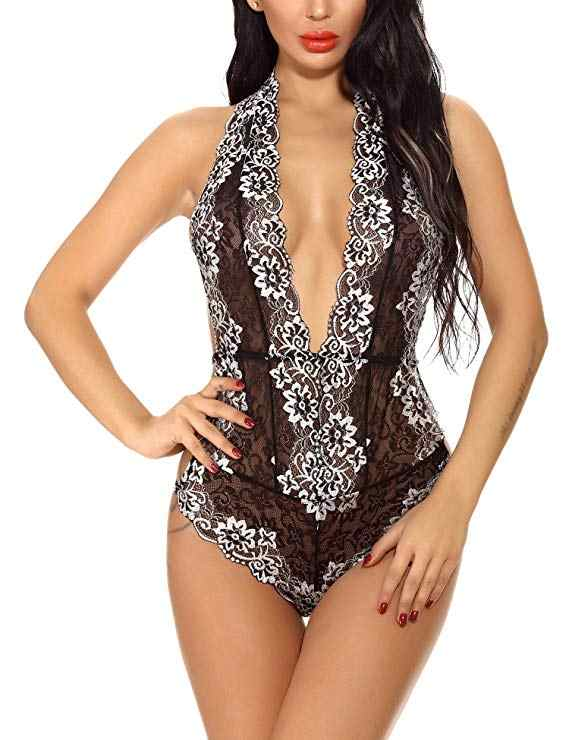 Сексуальный женский топ с глубоким v-образным вырезом размера плюс S-XXXL, боди с открытой спиной, трико с лямкой через шею, кружевной пляжный костюм, обтягивающая сексуальная одежда