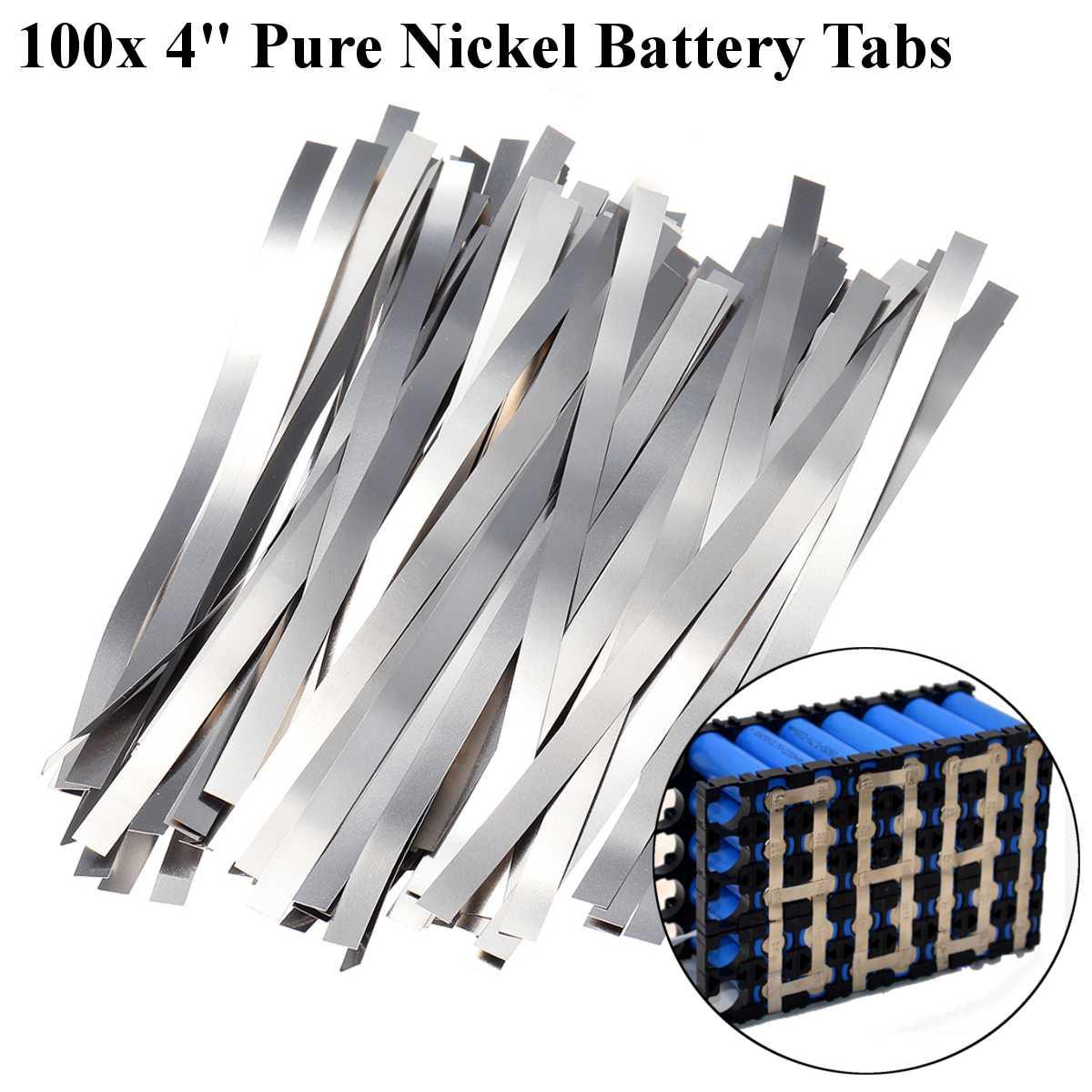 100pcs 0.1*4*100mm Pure Nickel Electric Welding Strip Tape For Li 18650 Battery Spot Welding Compatible For Spot Welder Machine