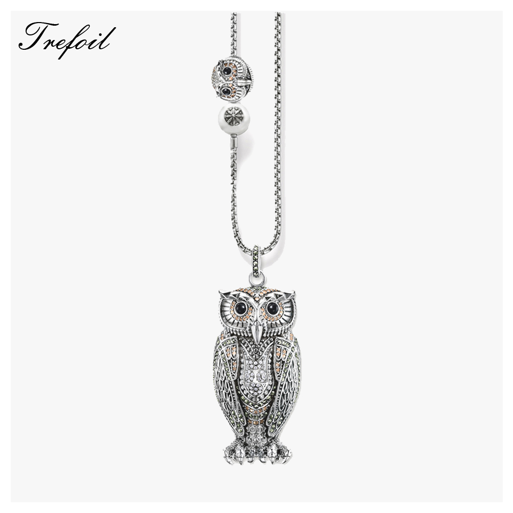 Link Chain Necklace Big and Small Owl, Fashion 925 Sterling Silver Jewelry European Romantic Gift For Women Girls 2018 Collier
