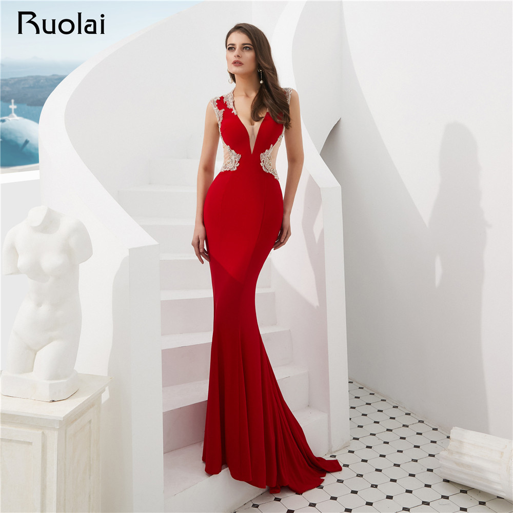 Red Evening Dress 2019 V-Neck Mermaid Evening Gown Shiny Beaded Prom Dress Long Sheer Back Party Wear Vestido de Fietsa SN8 gown