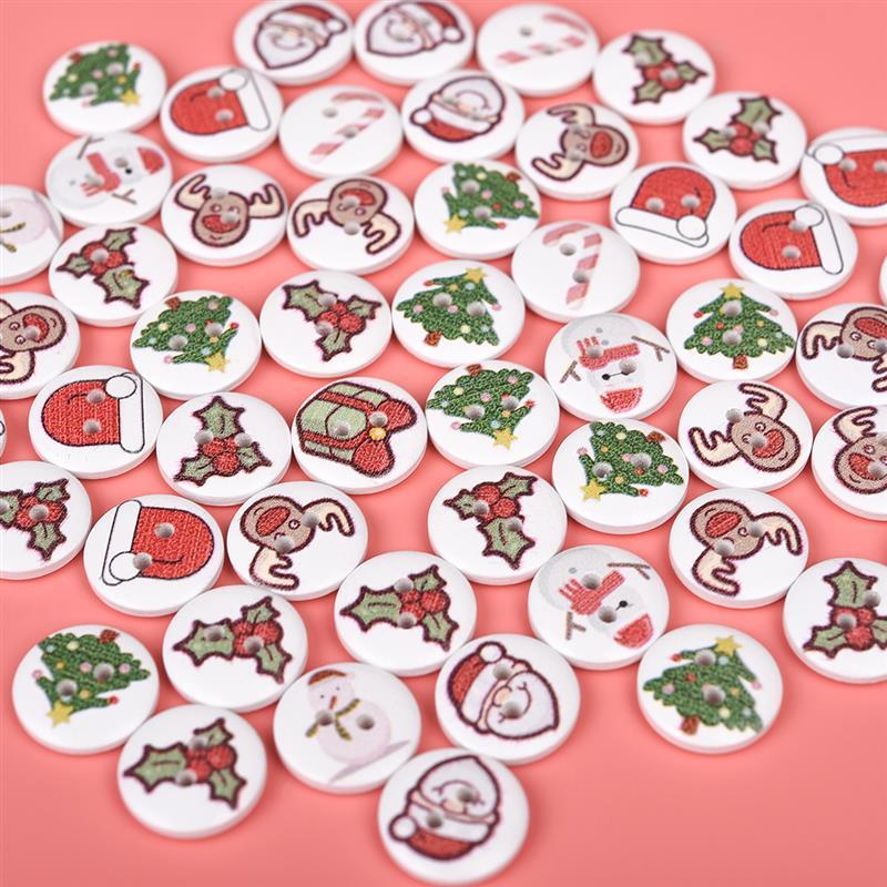50 шт. Новый олень Снеговик деревянные пуговицы для шитья кнопка для костюмы Рождество украшения DIY Вышивание интимные аксессуары случайный смешанный