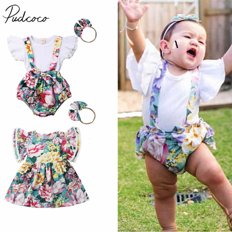 2019 Brand New Sister Match Big Little Sister Girl Clothes Sets Floral T-shirt Tops Bib Shorts Dress Headband Outfit Clothes