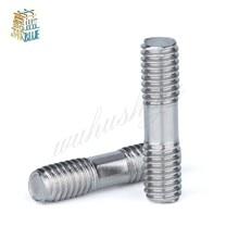 цена на 20PCS M8 Stainless Steel Double End Threaded Screw Headless Double Thread Studs Bolt M8*30/35/40/45/50/55/60/65/70mm
