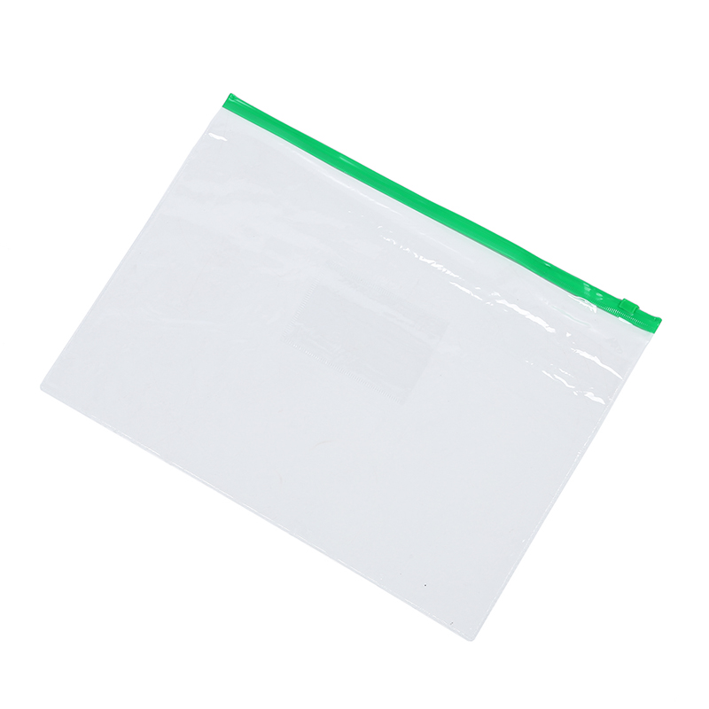 Office Green Clear Size A4 Paper Slider Zip Folders PVC Files Bags 20PCS