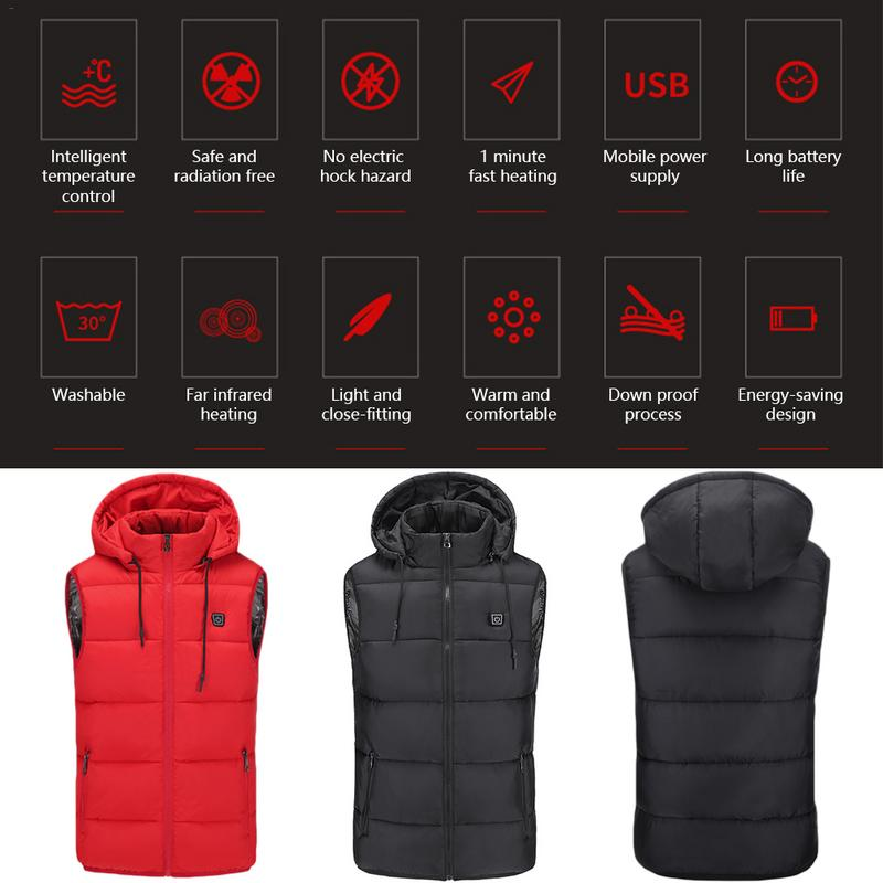 a702ead0b Heated Vest Winter Down Youth Warm Jacket USB Charging Cotton Smart Heating  Vest Hooded Electric Cotton Clothing Heating Clothes
