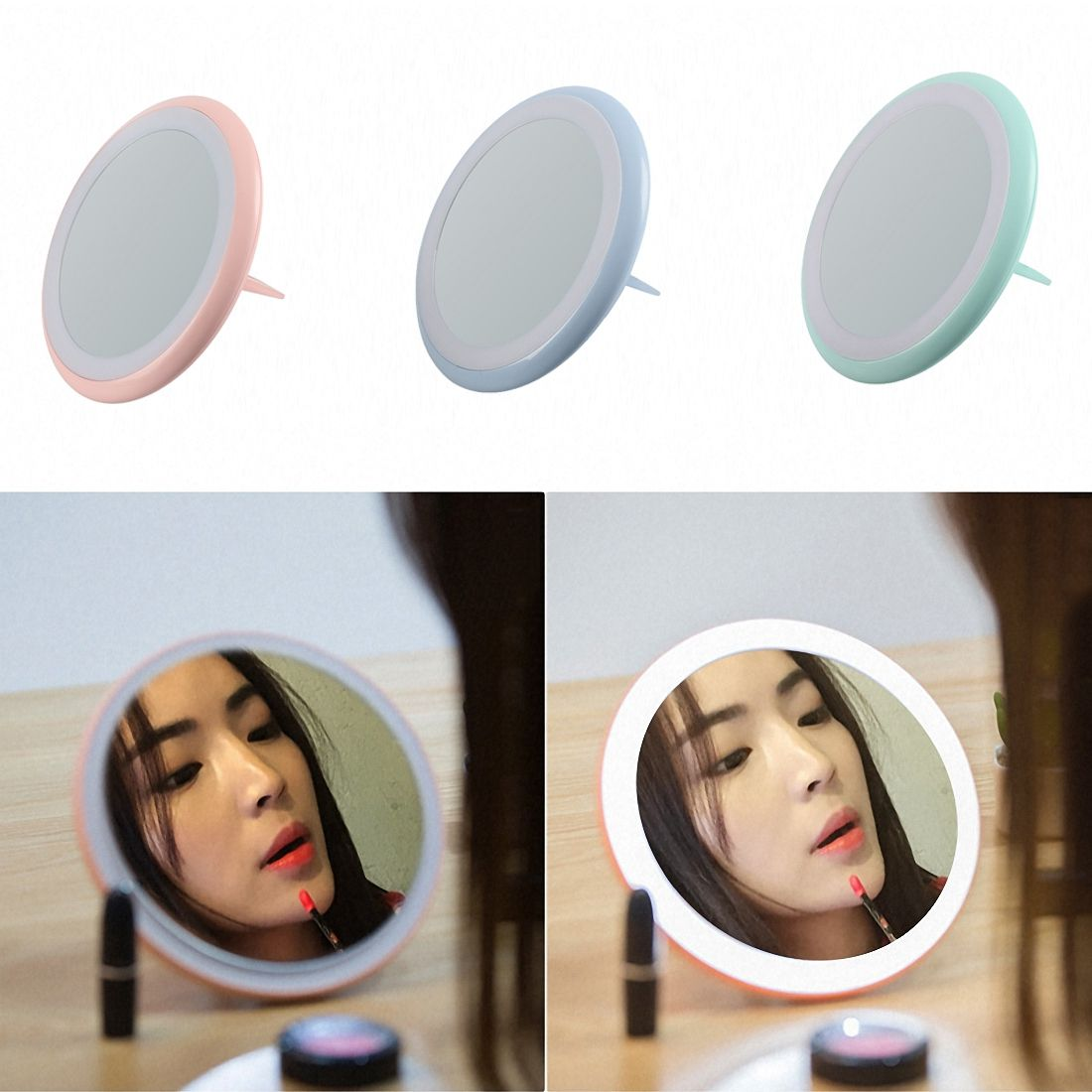 Vanity Lights Portable Lighted Makeup Mirror Vanity Led Light Kit Usb Charging Cosmetic Lighted Make Up Mirrors Bulb Brightness Vanity Lights Elegant Shape
