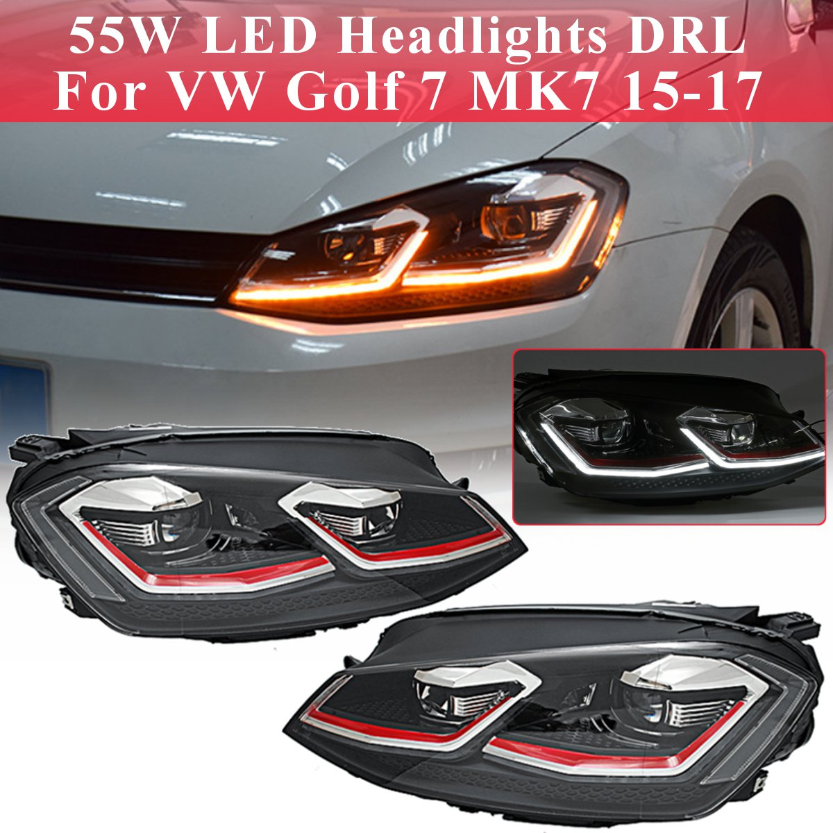 For VW Golf 7 MK7 Car Styling Head Lamp Case Clear LED Headlights DRL Lens Double Beam Bi-Xenon For Golf 7 2015 2016 2017