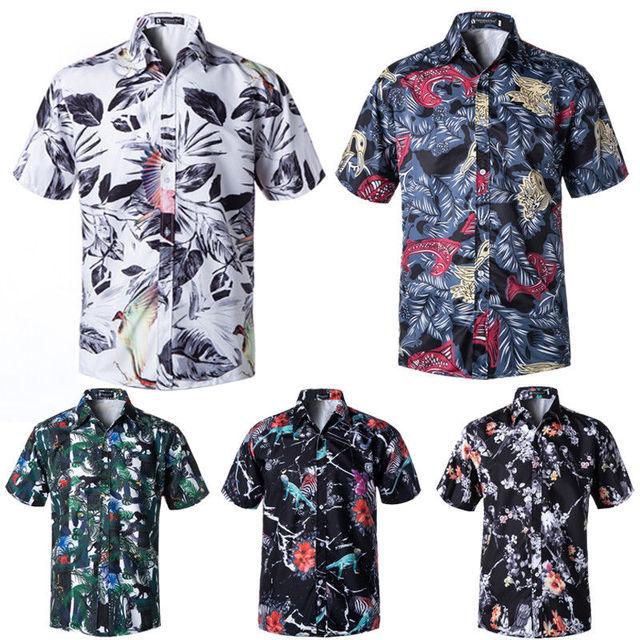 9ea7da56162 Men s Hawaiian Style Shirt Summer Short Sleeve Floral Printed Beach Wear  Shirts Party Wear Shorts Sleeve Tops