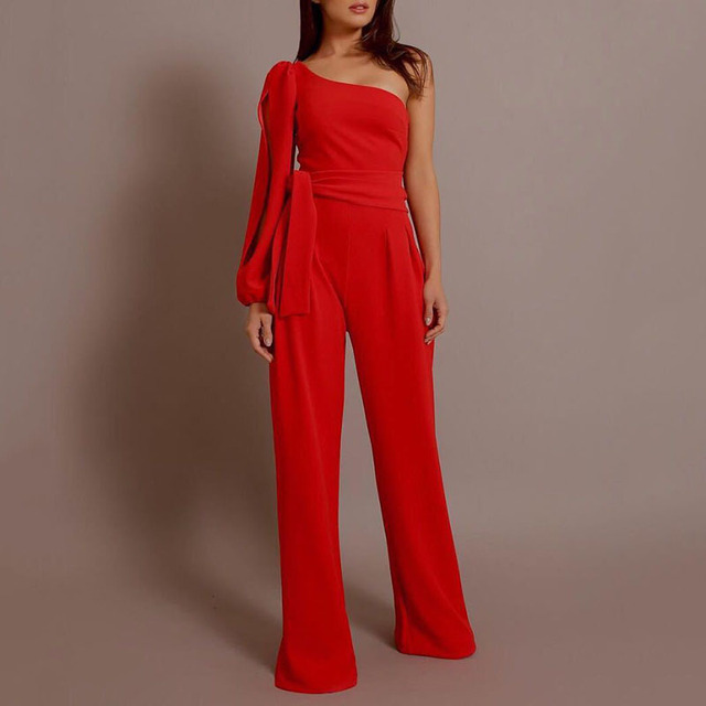 New elegant full pants Women Ladies Long Sleeve One shoulder hoolow Bandage Evening party elegant sexy Jumpsuit Romper overalls