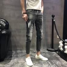 2019 spring hole jeans male Korean version of the fashion personality patch Slim stretch feet youth casual pants Free shipping цены онлайн