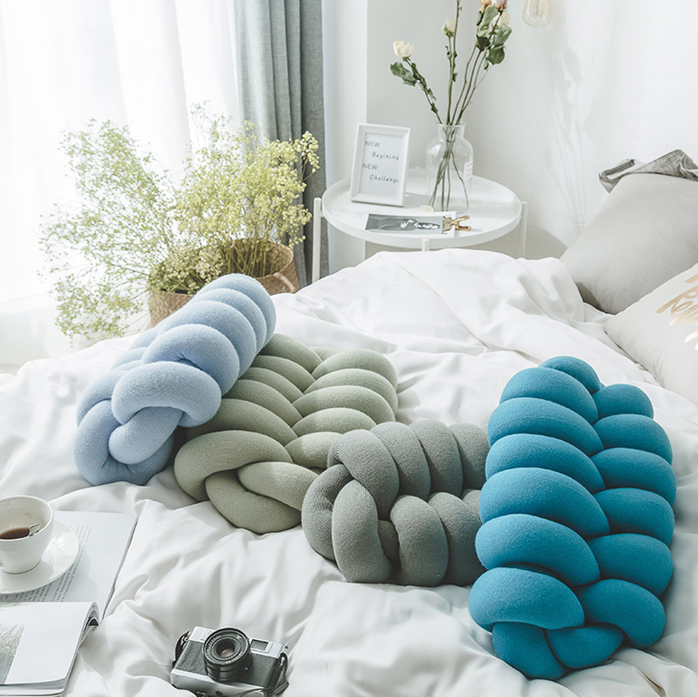 Ins Nordic Style Decorative Throw Knot Pillow Ball Pillow Cushion Sofa Lumbar Pillow Chair Back Cushion With Core