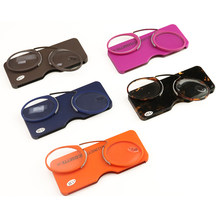 styles hot sale stick on phone MINI clip nose bridge reading glasses 1.0 to 3.5 Portable presbyopic glasses with Case