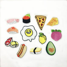 PGY Poached Egg Sushi Hot dog Pizza Fruit Avocado Embroidery Honey peach Patches for Clothing Iron Kids Clothes Appliques Badge(China)