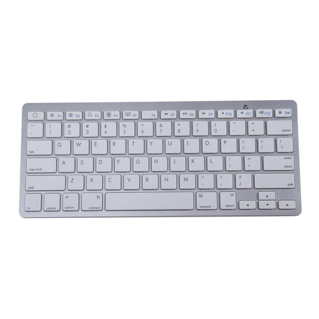 450 Ultra Thin Portable Standard 78-Key Wireless Bluetooth Keyboard For Ipad Iphone MAC PC (Silver)