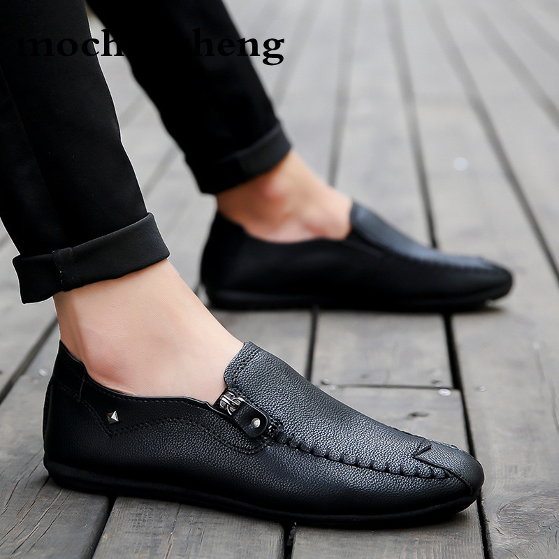 Brand Luxury Designer Sneakers Men Leather Shoes Slip On Breathable Loafers Men Casual Shoes Mens Flats Driving Shoes Autumn
