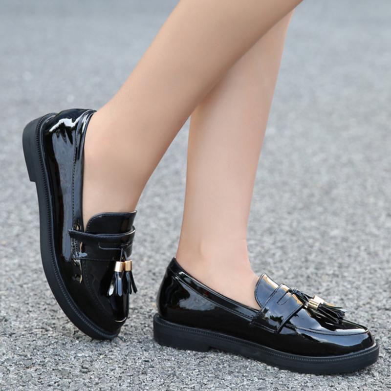 Antideslizantes Charol Suela Vintage Negro Otoño Borlas rojo Goma Sólido Mujer Par De Zapatos 1 qPU4w