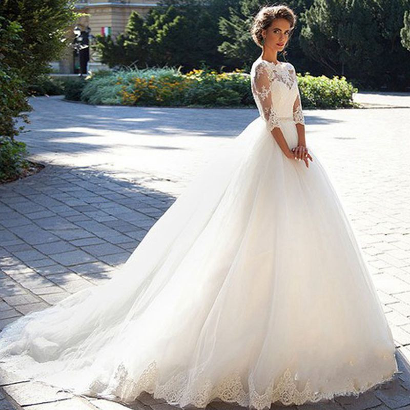 Discount Gothic Lace Wedding Dresses 2019 Plus Size A Line: U SWEAR 2019 Lace A Line Wedding Dresses Half Sleeves O