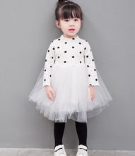 Emmababy 2019 New Tollder Kid Baby Clothing Girls Polka Dot Knitted Sweater Tutu Tulle Dress Clothes pink white black lovely