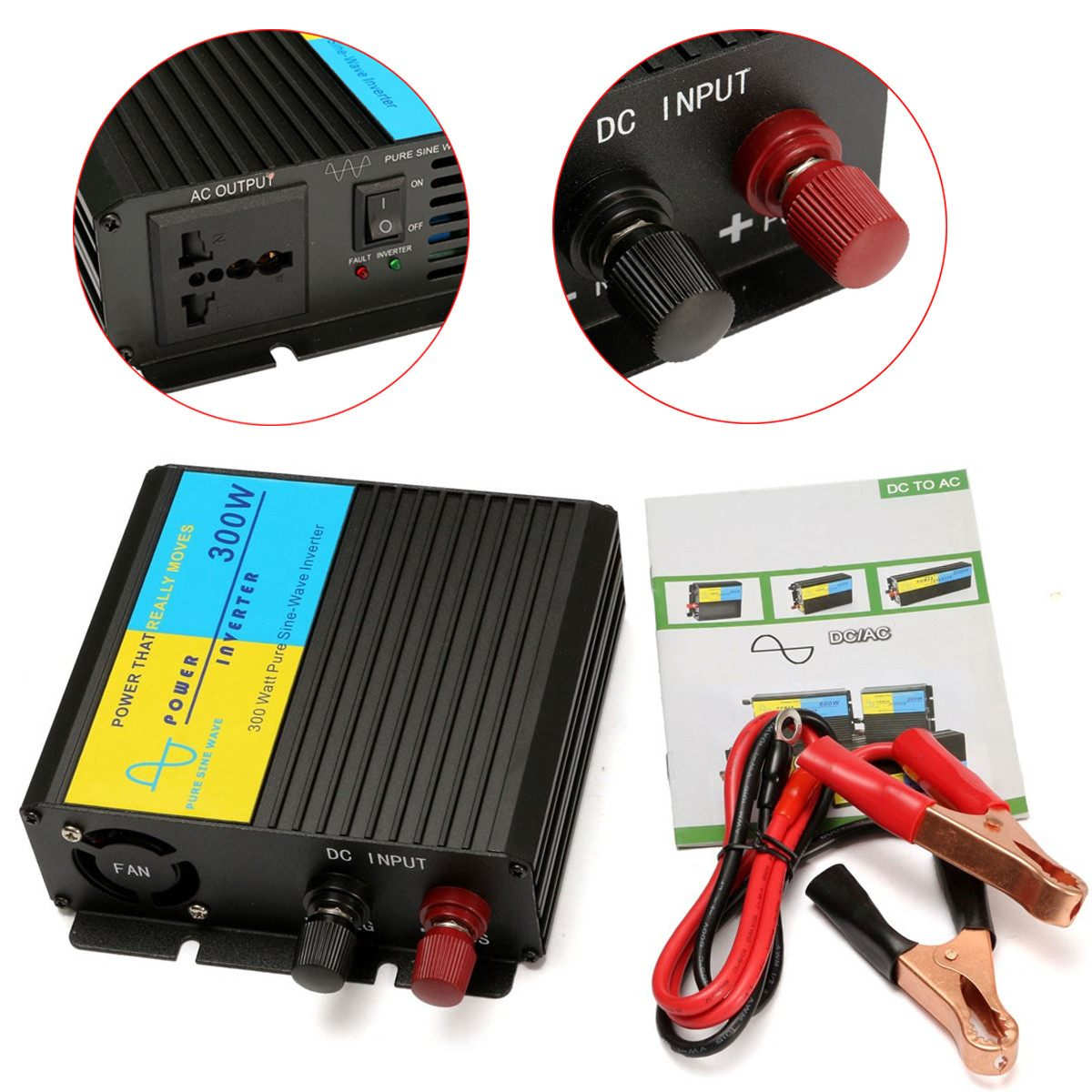 1Pcs Black 300W Power Inverter Converter DC 12V to 220V AC Cars Inverter with Car Adapter1Pcs Black 300W Power Inverter Converter DC 12V to 220V AC Cars Inverter with Car Adapter