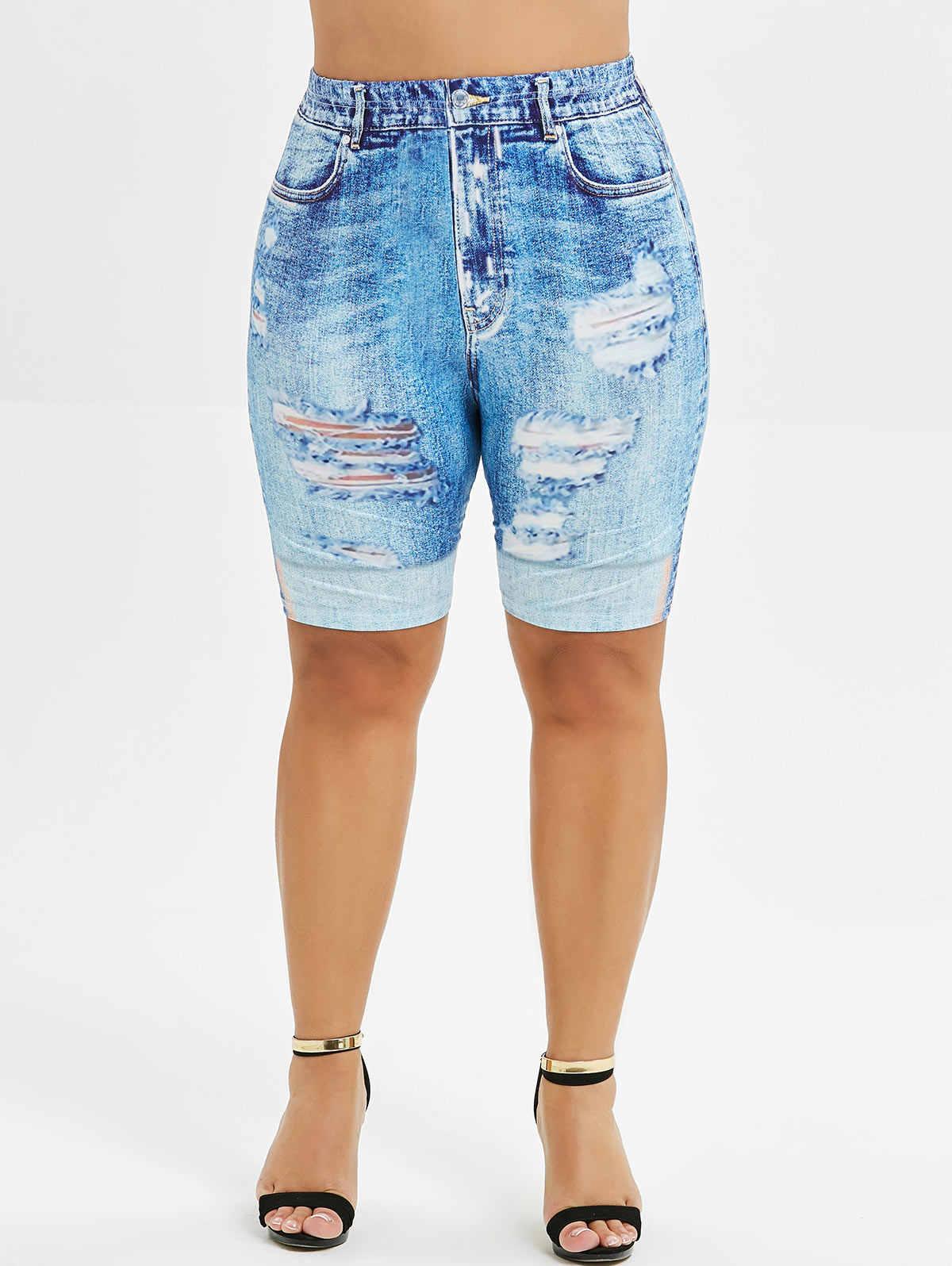 Wipalo плюс Размеры 3D с джинсовым принтом Короткие мини леггинсы, брюки-скинни с завышенной талией, с эластичной резинкой на талии, узкие леггинсы для фитнеса Для женщин пикантные Легинсы Femme 5XL