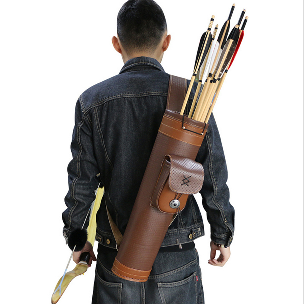 Fashionable Archery Hunting Back Quiver Leather Arrow Holder Bow Shoulder Bag W/ Buckle Pocket Arrow Bag Outdoor Shooting Bow & Arrow     - title=
