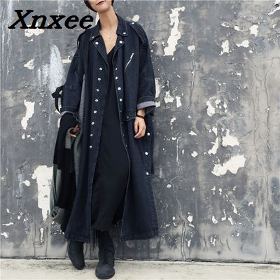 Women loose   trench   coat washed jeans denim long casual coat split windbreaker female overcoat winter autumn   trench   coats Xnxee