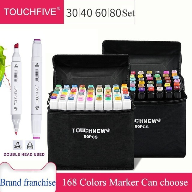 TOUCHFIVE 30/40/60/80 Colors  Art Markers Dual Head Alcohol Based Sketch Markers Pen Set For Animation Manga Art Supplies