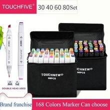 Touchfive 30/40/60/80 Kleuren Art Markers Dual Head Alcohol Gebaseerd Sketch Markers Pen Set Voor Animatie Manga art Supplies