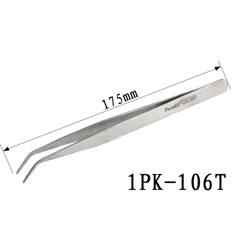 Handle Hole 1PK-106T Long Bend Stainless Steel Tweezers