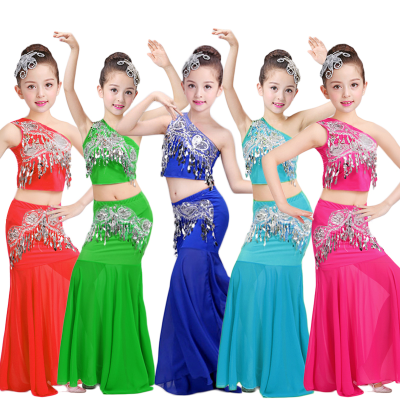 Songyueixia Kids Girls Belly Dancing Costumes 3PCs Women Shoulder Off Vest Fish Tail Skirt Sequin Design Children Cosplay Stage