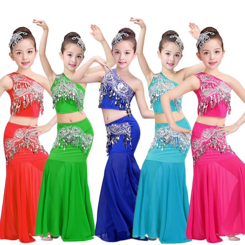 Songyueixia Kids Girls Belly Dancing Costumes 3PCs Women Shoulder Off Vest Fish Tail Skirt Sequin Design Children Cosplay Stage