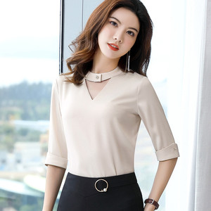 Image 5 - Chiffon Shirt Women 2019 Summer New Fashion Clothes Temperament Slim V Neck Half Sleeve Blouses Office Lady Loose Business Tops