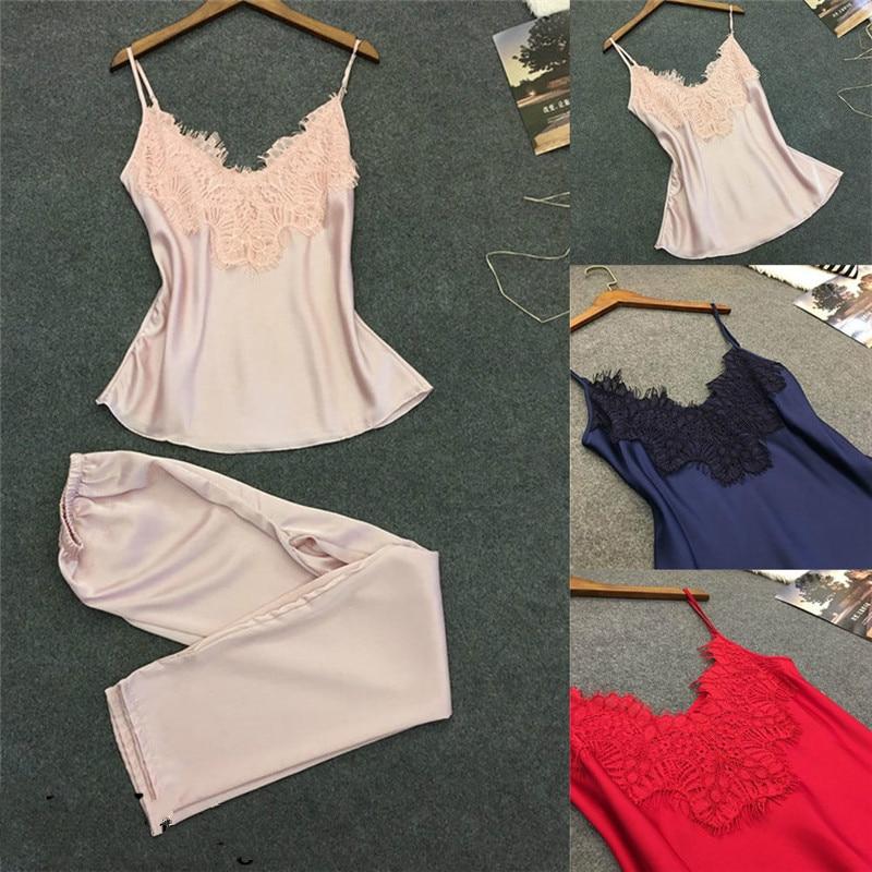Women Sexy Satin Silk Pajamas Set Sleeveless Lace V Neck Tops + Pants Sleepwear Nightgowns Nightwear Lingerie Blue Pink