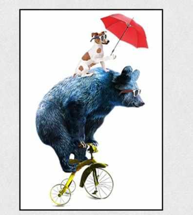 Nordic Kartun Hewan Lukisan Dekoratif Anaknya Lucu Naik Sepeda Panda Skateboard Anak Anjing Payung Merah Kanvas Lukisan Nursery