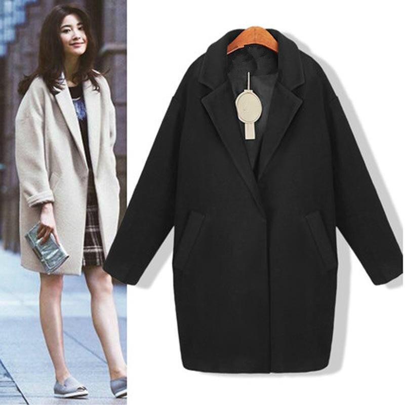 Cotton Coat Women Coat Female Overcoat Female Spring Autumn Slim Blend Alpaca Woolen Coat Woolen Outerwear Warm Winter