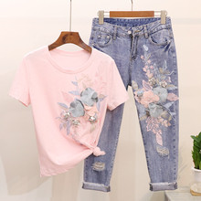 3d Flower Embroidered Women Jeans Set Pink T Shirt Tops And Ankle Denim Pants Tw