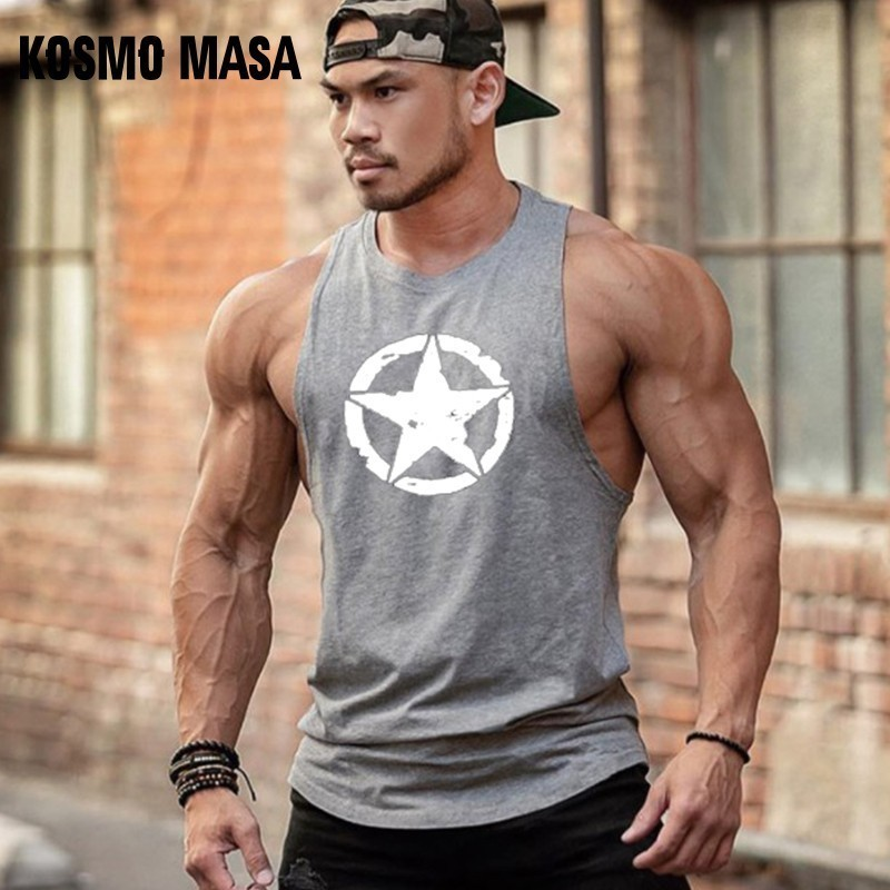 KOSMO MASA Cotton   Tank     Top   Men Gym Fitness Printed Summer Muscle Workout   Tank     Top   Stringer   Tank     Top   Bodybuilding For Men MC0365