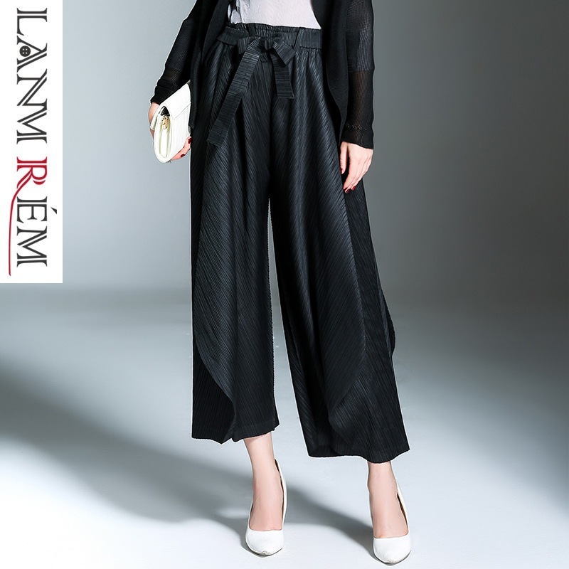 LANMREM 2019 New spring Fashion Black High Waist Elastic Sashes Casual Woman Ankle-length   Wide     Leg     Pants   SC067