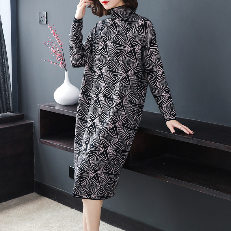 2019 Autumn New Pattern European Will Code Easy Thin Round Neck Long Sleeve Long Fund Knitting Dress