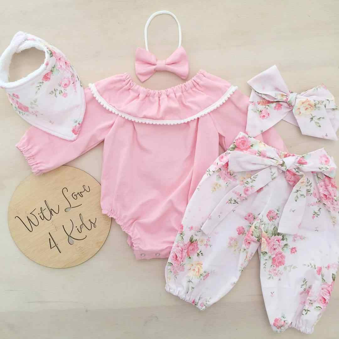 Summer New Baby's Sets Stock Newborn Baby Girl Floral Top Romper Pants Headband Bow Pink Solid