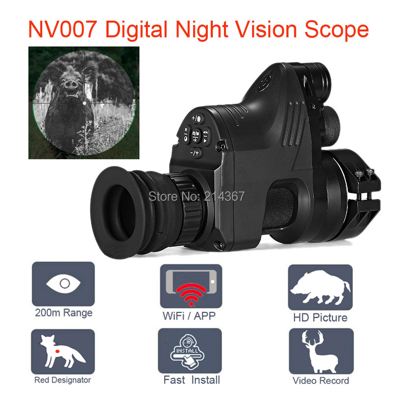 PARD NV007 Digital Night Vision Hunting Optics with Wifi APP 200M Range NV Scope 850nm IR Night Vision Sight Good Quality wgx2 hd night vision rilfescope 1280x720 display night vision hunting scope digital ir night vision scope optical 200m range