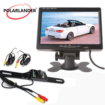 Hot sale Car Rear View Monitor with 7 Inch TFT screen Color Display Screen  7 led  camera wireless receiver transmitter