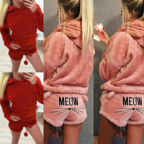 Womens Ladies Warm Long Sleeve Hoodie+Shorts Tow Piece Set Pajamas Outfits Sleepwear
