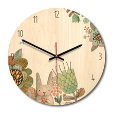 New 3D Wall Clock Wooden Vintage For Living Room Mute Watch Kids 28cm Duvar Saati Home Decoration