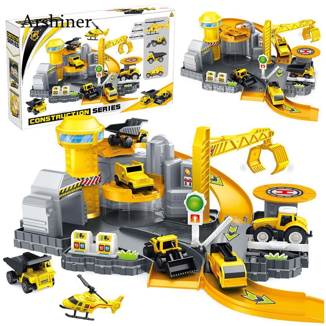 3D Spielzeug Auto Eisenbahn Auto Spielen Set Garage Auto Baustelle Parkplatz DIY Modell Gebäude Kits Montage Kinder Kinder Jungen mädchen